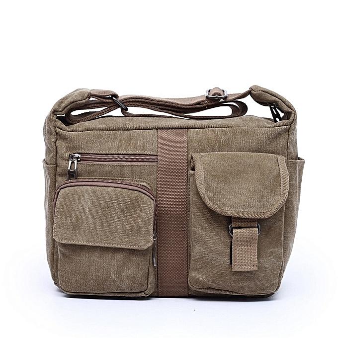 Other Men's Travel Bag Canvas femmes Men Messenger Bag Designer Brand Handbags Men's Bag Vintage Briefcase Business Shoulder Bag Bolsas(Khaki) à prix pas cher