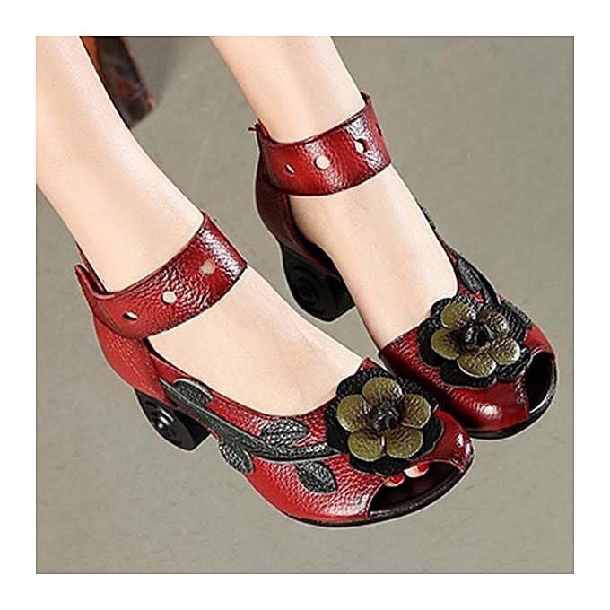 Fashion SOCOFY Fashion WoHommes  Flower Retro Genuine Leather Handmade Handmade Handmade Heeled Sandals-EU à prix pas cher  | Jumia Maroc afec67