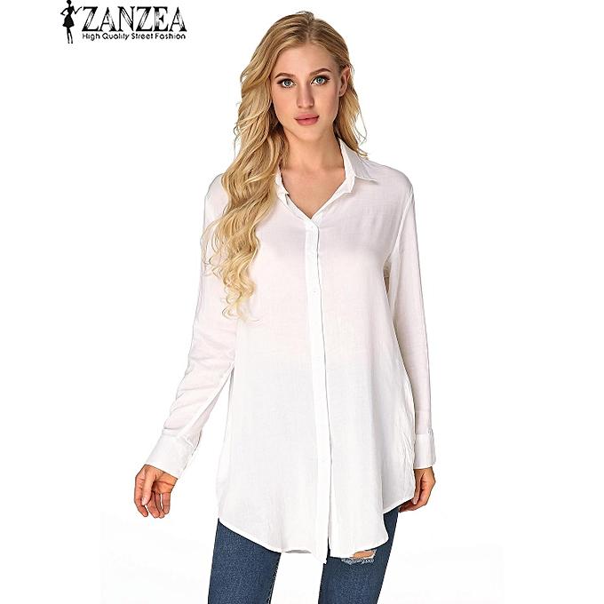 Zanzea ZANZEA Autumn mode femmes manche longue Turn-down Collar Décontracté Loose Cotton Buttons chemisiers à prix pas cher