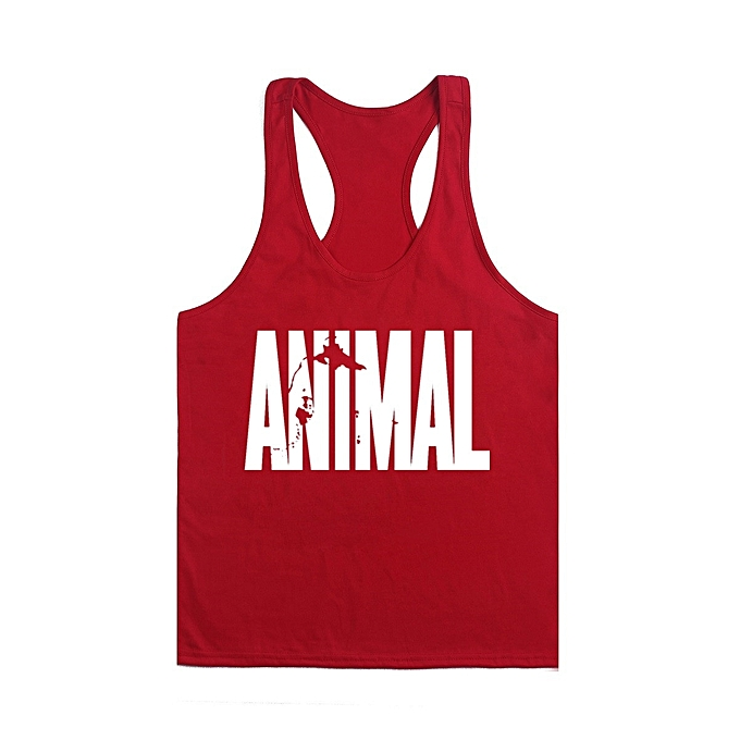 Other nouveau mode Hommes& 039;s Professional Bodybuilding Fitness Cotton Deep Digging Loose Sports Vest-rouge and blanc à prix pas cher