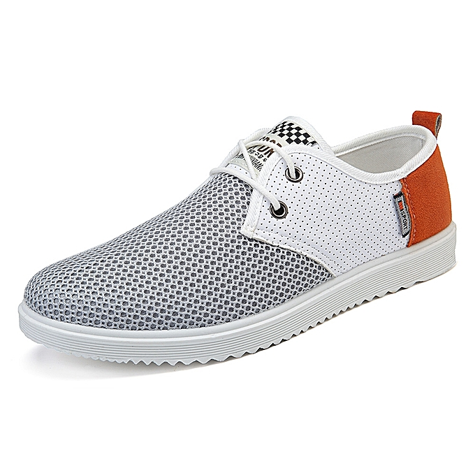 Fashion Men Casual Comfy Breathable Mesh Cloth Oxfords Lace Up Flats à prix pas cher