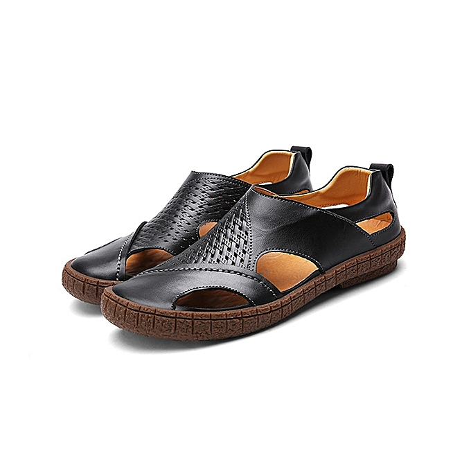 af881444cb Soft Shoes Men Casual Breathable Genuine Leather Hollow Outs Sandals