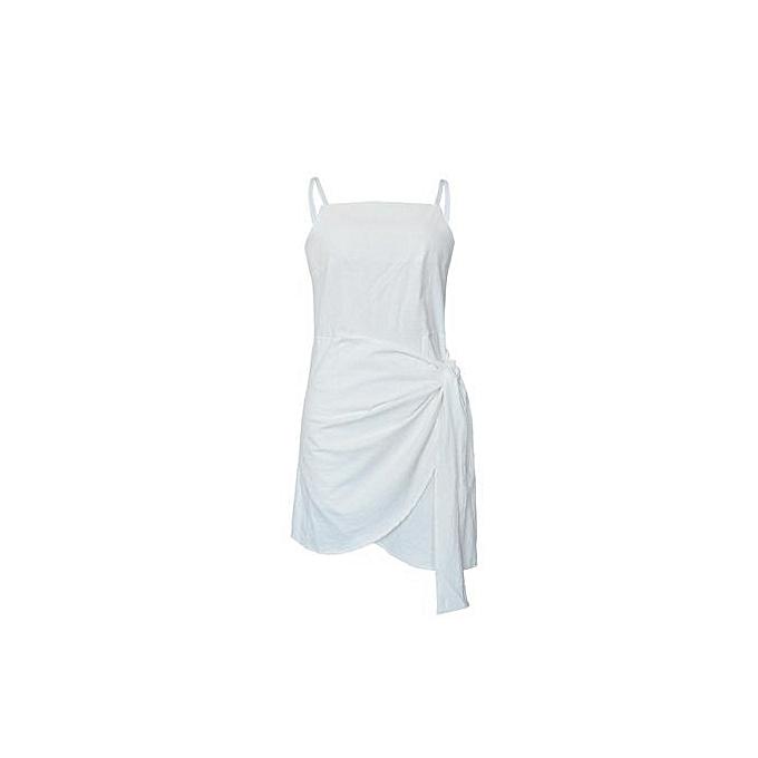 Generic Spaghetti Strap Bowknot Wrapped Robe (blanc) à prix pas cher