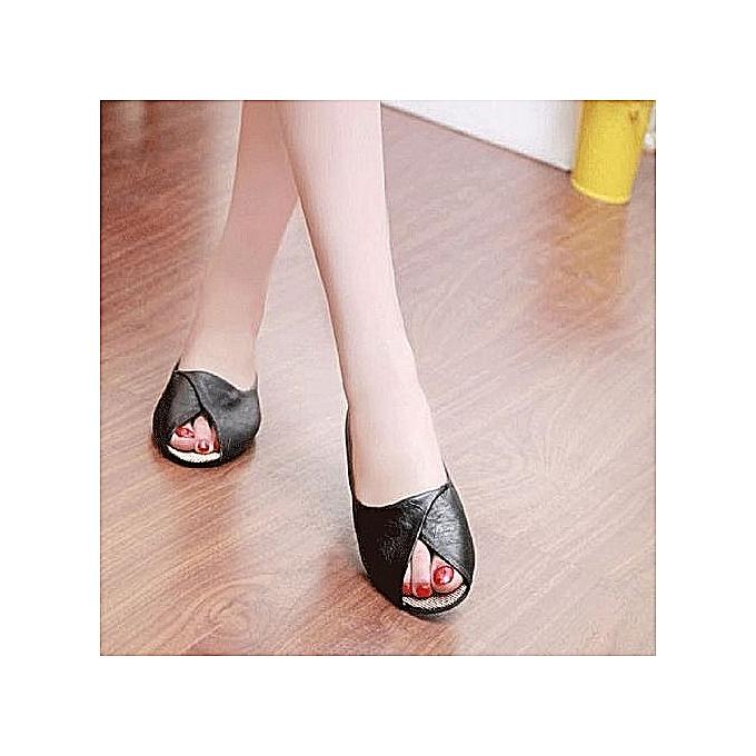 Fashion Wohommes Summer Sandals chaussures Peep-toe Low chaussures Rohomme Sandals Ladies Flip Flops—noir à prix pas cher    Jumia Maroc