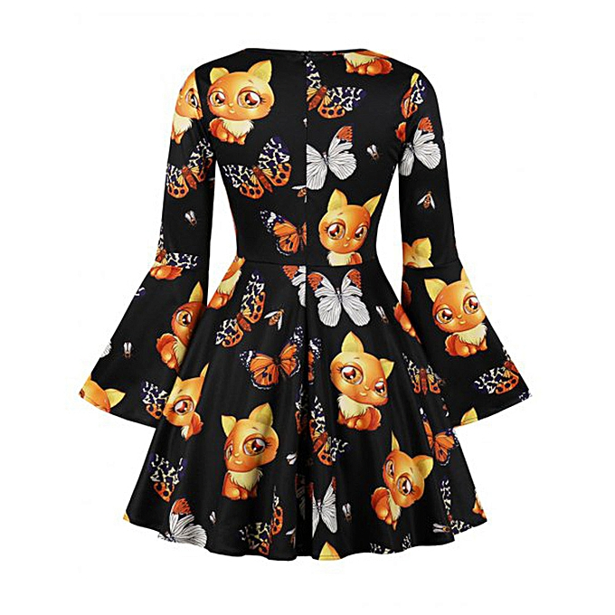 Generic Xiuxingzi femmes V-Neck manche longue Flare Sleeve Fit Flare Robe Fox Pattern Print Robe à prix pas cher