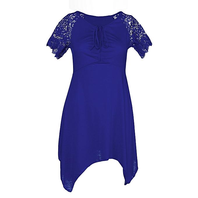 Fashion Hiamok femmes Plus S-5XL femmes Irregular Hem Short Sleeve Loose Shirt BU L à prix pas cher
