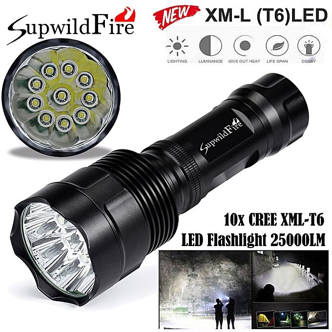 Electronic Super Bright 25000Lm 10x XM-L T6 LED 5-Mode 18650 Flashlight Torch Light Lamp à prix pas cher