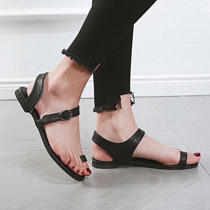 Fashion (Xiuxingzi) Wohommes Summer Open Toe Beach Breathable Flat Buckle Strap Sandals Rome chaussures à prix pas cher
