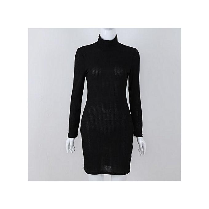 BleuLife Solid Couleur Bodycon chandail Robe  For femmes - noir à prix pas cher