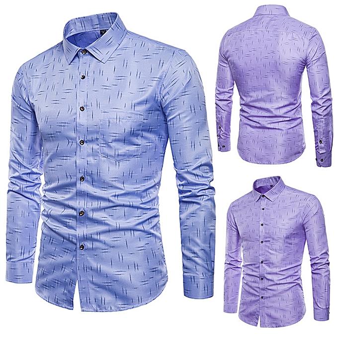 Fashion Mens Printing Fashion Long Sleeve Casual violet Designer Shirts à prix pas cher