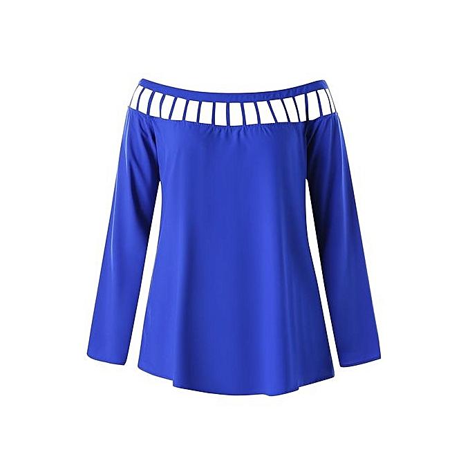 Nextmia Plus Taille manche longue Lattice Cut chemisier_bleu à prix pas cher