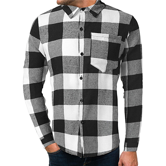 Fashion Mens Spring Fashion Printed Plaid Casual Long Sleeve Slim Shirts Tops Blouse à prix pas cher