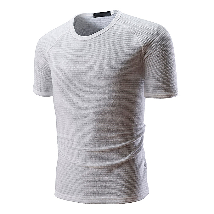Fashion Fashion Men's Casual Slim Short Sleeve T Shirt Muscle Top Blouse WH L à prix pas cher