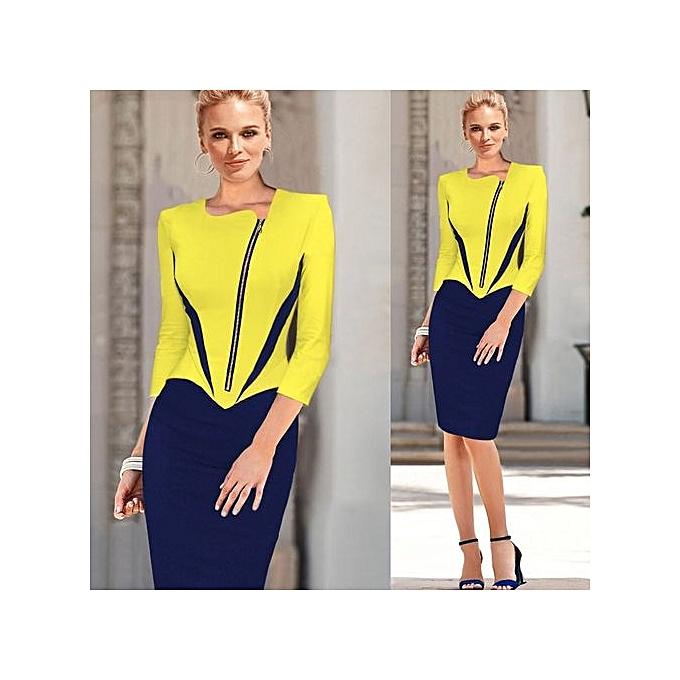 mode Elegant Pattern Work Robe For femmes  Office vêtehommests de travail OL Pencil Midi Robe-jaune à prix pas cher