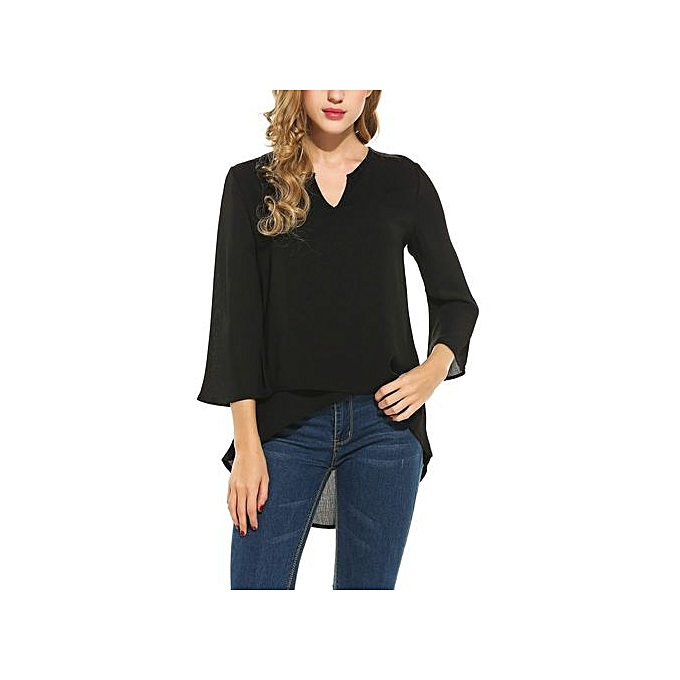 Meaneor New femmes Casual V-Neck Three Quarter Flare Sleeve Asymmetrical Cross Hem Top-noir à prix pas cher