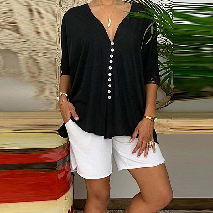 mode whiskyky store femmes mode été V Neck Solid manche longue Buttoned chemisier Shirt Top à prix pas cher