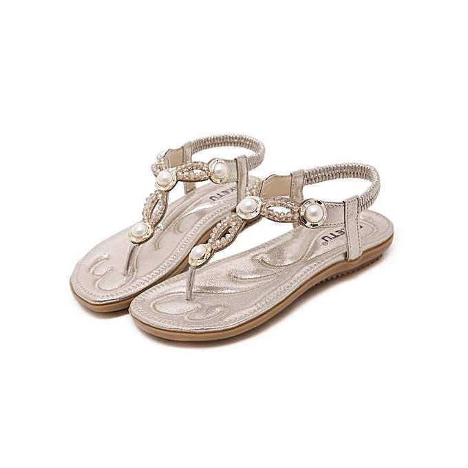 Fashion Large Taille femmes sandals  fashion beaded slippers comfortable beach sandals femmes flip flops-or à prix pas cher