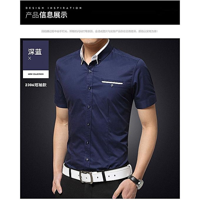 Fashion Fashion hommes business youth slim trend thin section casual short-sleeved shirt dark bleu à prix pas cher
