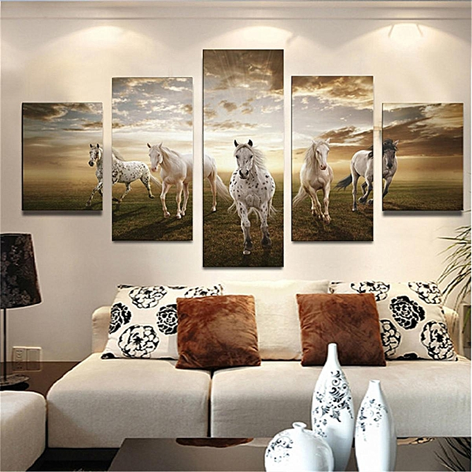 UNIVERSAL (No Frame)5 Panel Art Pictures Running Horse Large HD Modern Home Wall Decor Abstract Canvas Oil Painting à prix pas cher