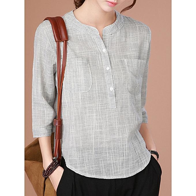 Fashion Casual femmes Half Button Minimalist 3 4 Sleeve Blouse à prix pas cher
