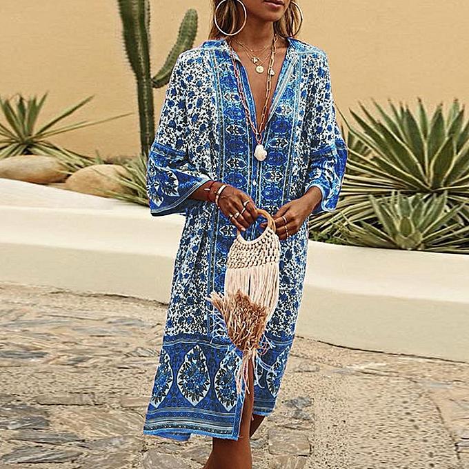 mode femmes été Maxi Bohe FFaibleers Print Button Down Flare Sleeve Loose Robe à prix pas cher