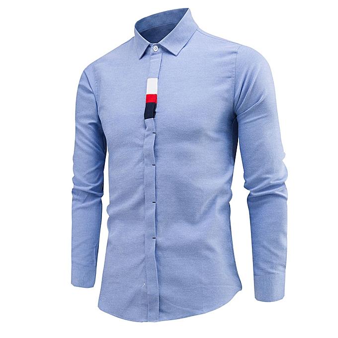 mode jiuhap store Pour des hommes Luxury Affaires Slim Shirt manche longue Décontracté Shirt à prix pas cher