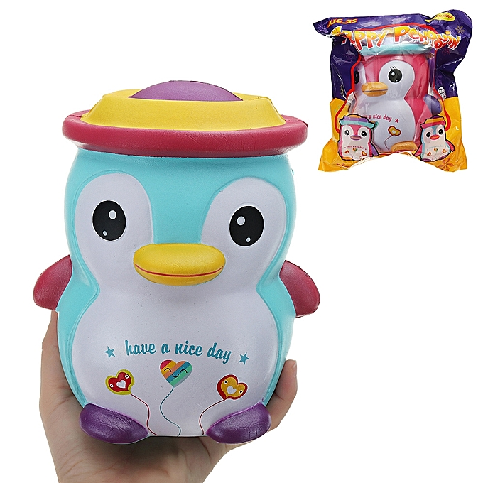 UNIVERSAL JJC_SS Squishy Happy Penguin Huge Jumbo 18cm Kawaii Soft Slow Rising Toy Gift With  Package Collection-bleu à prix pas cher