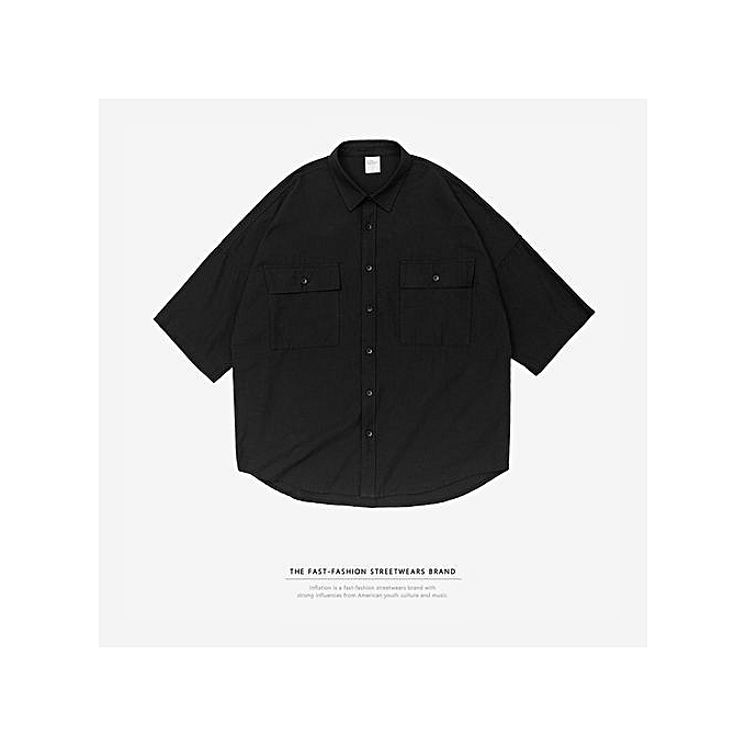 Fashion 2018 New Men's Shirt Popular Logo High Street Embroidery Five-point Sleeves Extended Arc Hem Loose à prix pas cher