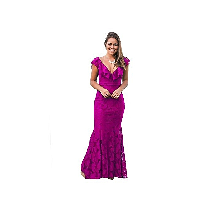 mode 2017 rouge violet Lace Mermaid Long Party Robees Prom Party Robe Robe Sexy Deep V Neck Backless Maxi Long Tunic Vestidos-violet à prix pas cher
