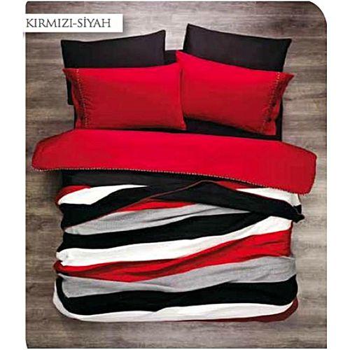 parure de lit 7pi ces zebre rouge achat deux places jumia maroc. Black Bedroom Furniture Sets. Home Design Ideas