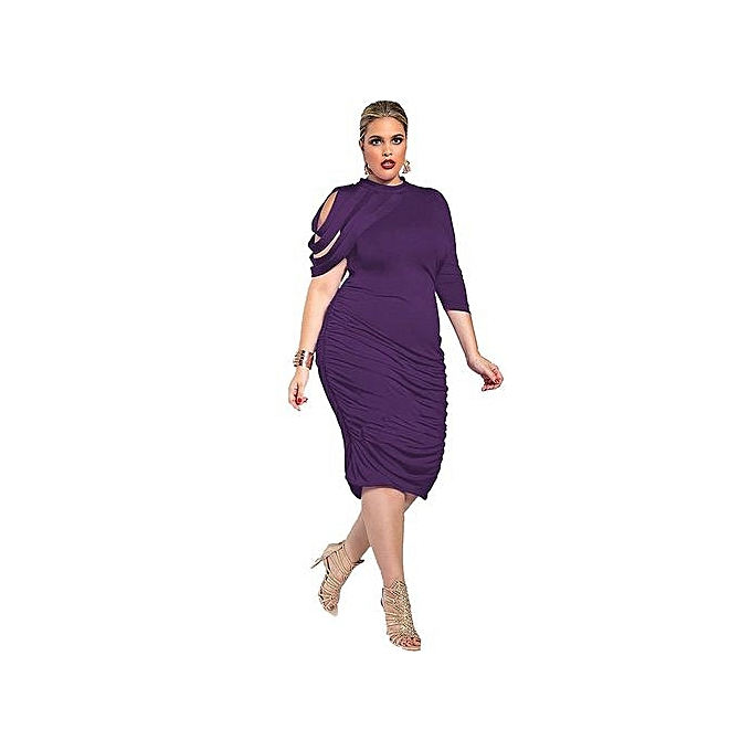 Fashion Plus Taille femmes Dress Spring Summer Half Sleeve Print Sexy Dressess Female Costumes-violet à prix pas cher