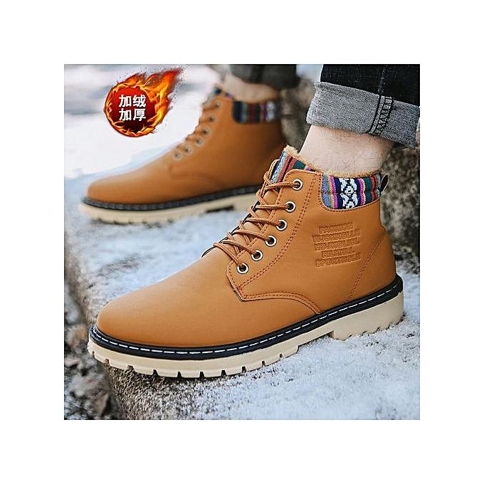 OEM Men's plus velvet Martin chaussures casual hommes chaussures high to help waterproof high chaussures-khaki à prix pas cher    Jumia Maroc