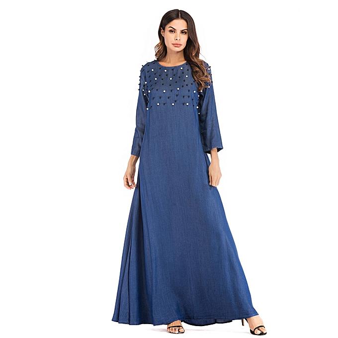 Fashion Hiamok femmes Muslim Beading Long Maxi Dress Abaya Jilbab Dubai Kaftan Islamic à prix pas cher