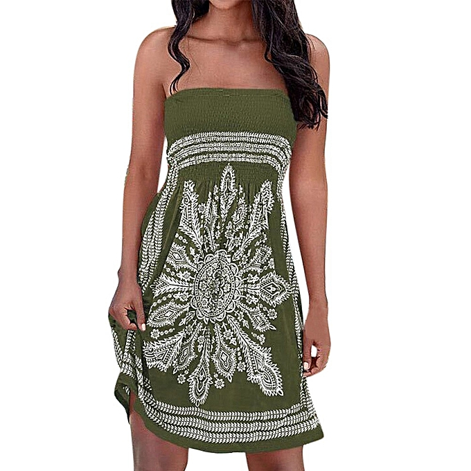 Fashion Sedectres Shop femmes Strapless Floral Bohemian Casual Mini Beach Dress Cover-ups Dress à prix pas cher
