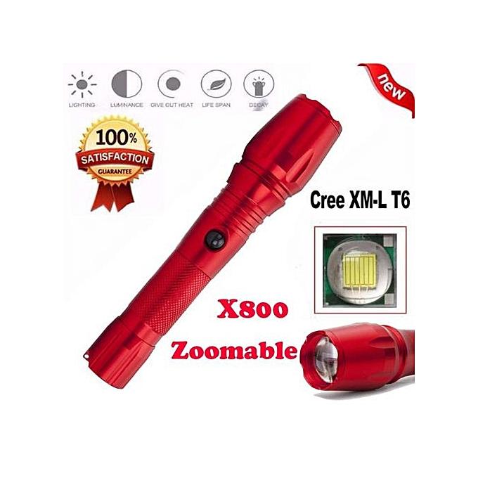 Generic Super Bright X800 XML T6 Zoomable Focus LED Flashlight Torch 5 Mode Light Lamp à prix pas cher
