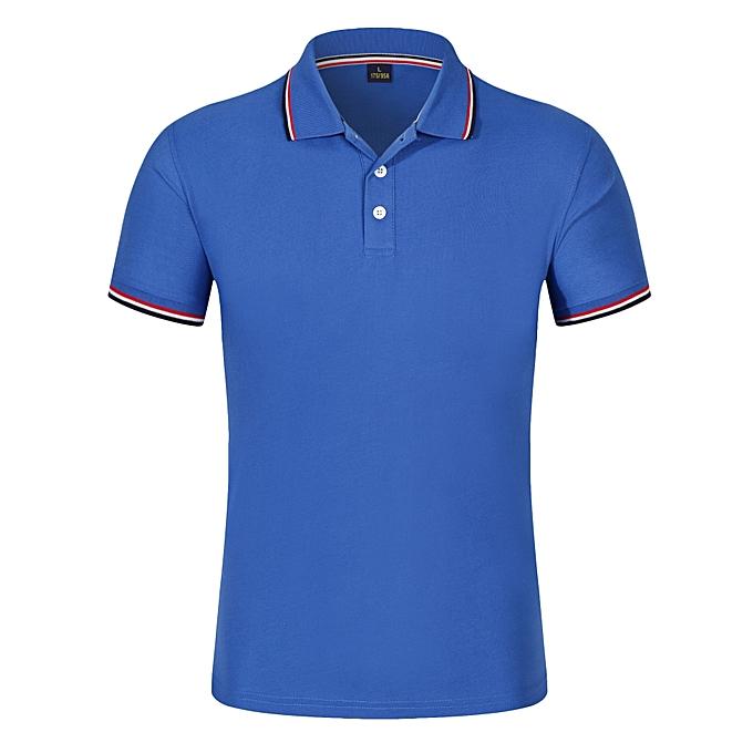 Other Personality Hommes hauts manche courte Polo Shirt Slim Fit T Shirt -Dark bleu à prix pas cher
