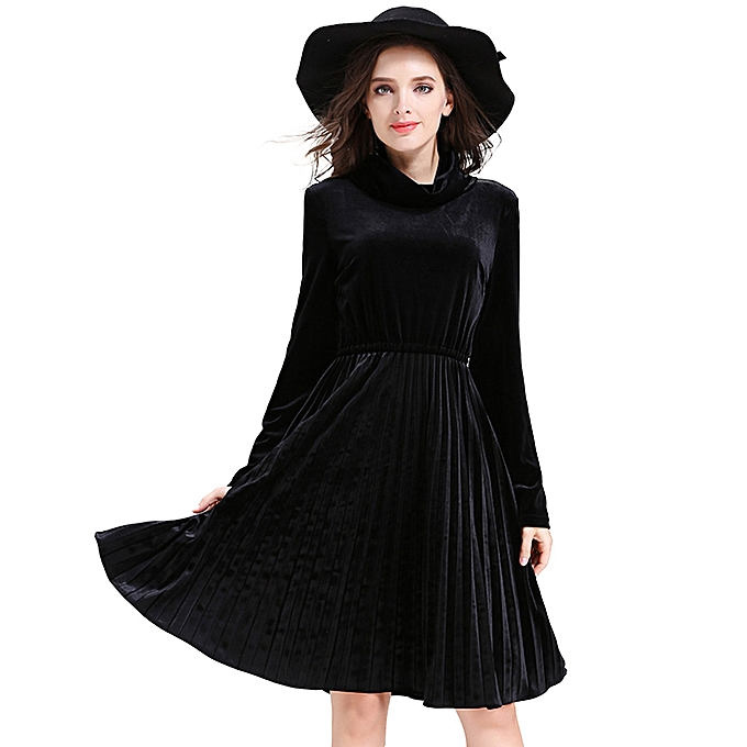 Generic Xiuxingzi Elegant Temperament Pleated Slim or Velvet Dress à prix pas cher