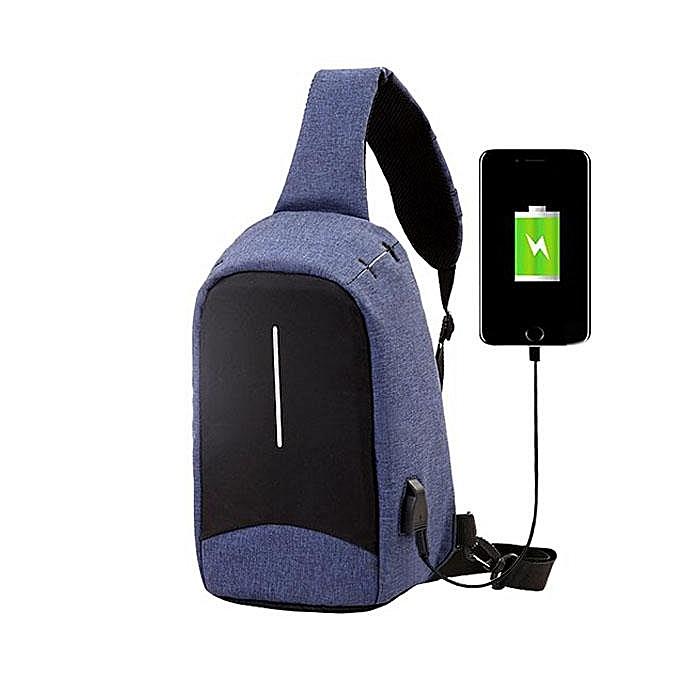 UNIVERSAL Men External USB Charging Function Sling Bag Water Repellent Anti Theft Crossboby Bag for 9.7  Ipad  bleu à prix pas cher