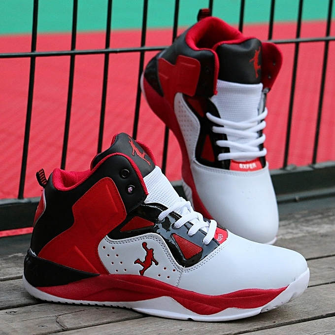 Other Men's High Top Sports chaussures Breathable Basketball chaussures -blanc rouge à prix pas cher