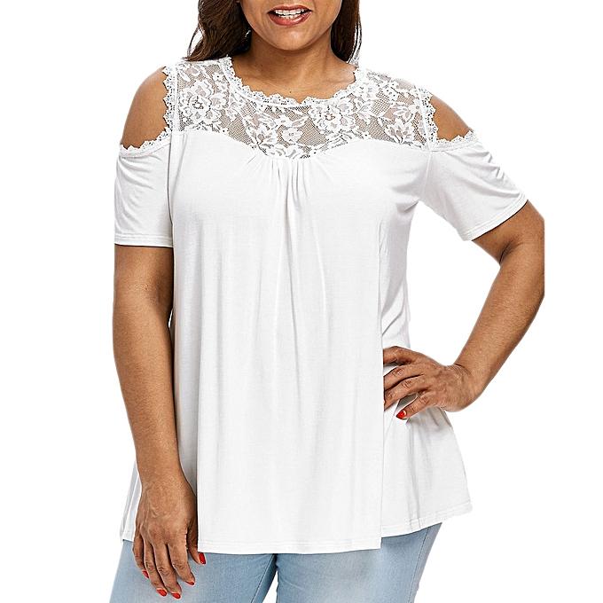 mode mode femmes Plus Taille Cold Shoulder Strapless Lace manche courte T-shirt hauts à prix pas cher