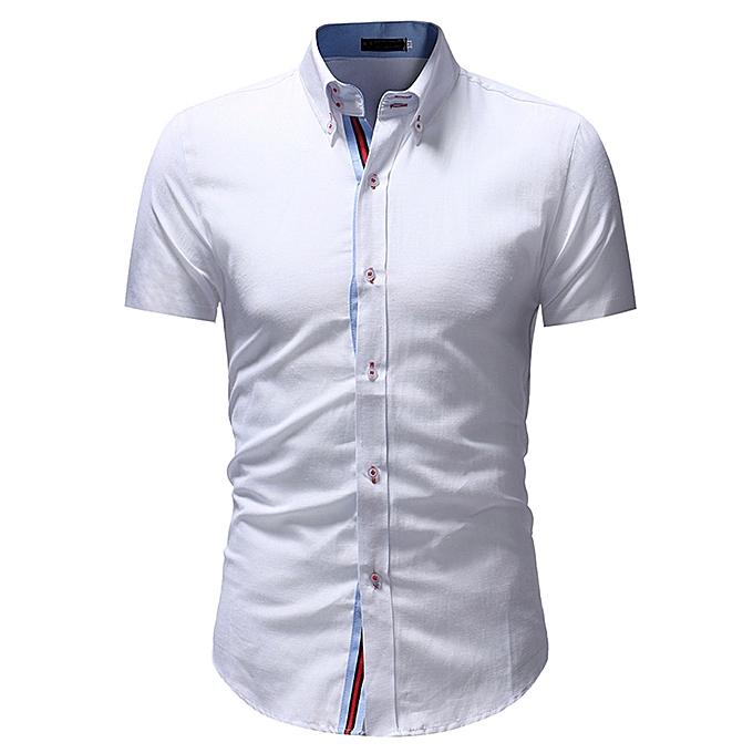 Fashion Man Retro Floral Printed Blouse Casual Long Sleeve Slim Shirts Tops WH XXL -blanc à prix pas cher