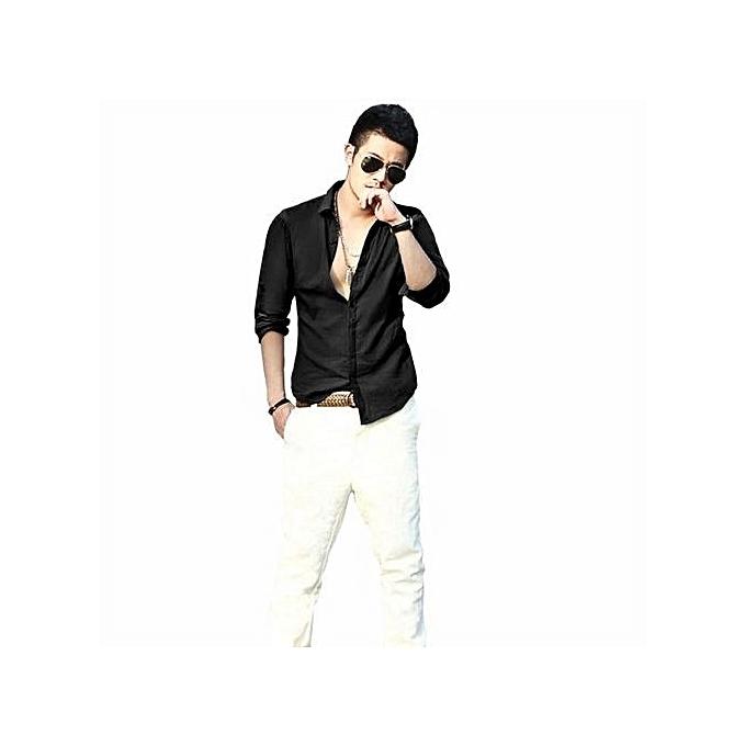 Neworldline Men's Casual Long-sleeved Shirt Linen noir M- Back M à prix pas cher