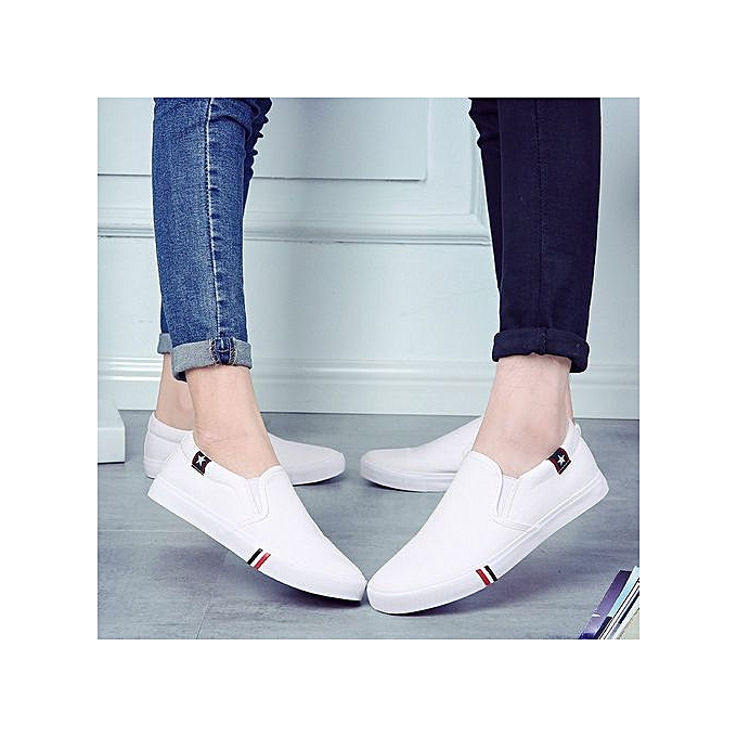 OEM New femmes canvas chaussures hommes chaussures Korean version of the set of feet chaussures casual student chaussures tide-blanc à prix pas cher    Jumia Maroc