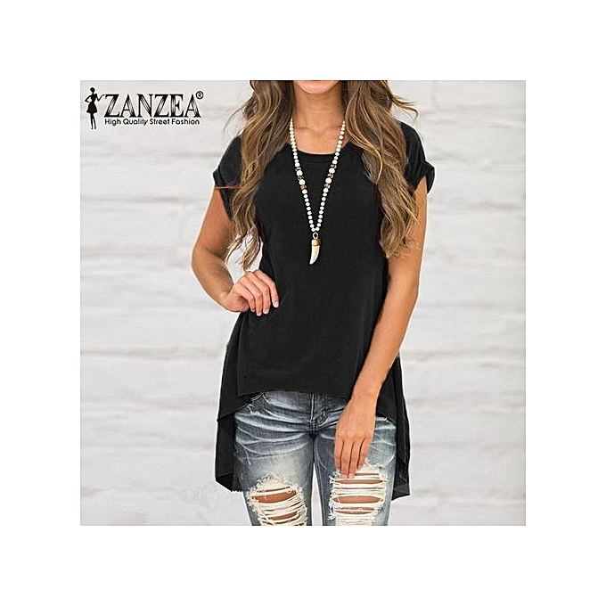 mode ZANZEA femmes& 039;s manche courte T-Shirt Asym Split Side hauts chemisier Shirt Tee Plus Taille (noir) à prix pas cher