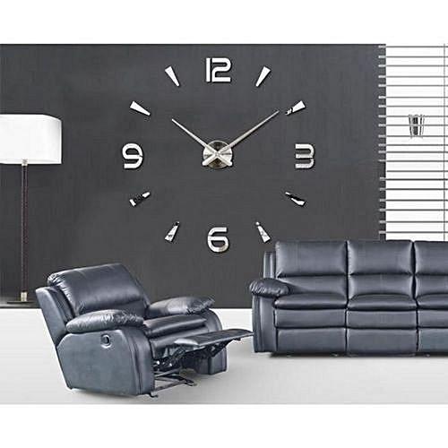 Commandez Diy Grande Horloge Murale Design 3d 120m Silver à Prix