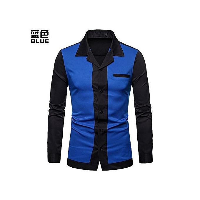 Generic Hot Sales  Hommes Shirt Hommes& 039;s Splice Turn-Down Collar Shirt Décontracté Slim Fit Male Shirts mode Hommes& 039;s manche longue Shirts - bleu à prix pas cher