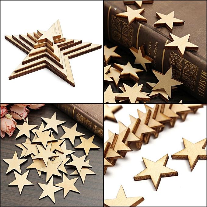 UNIVERSAL 20PCs DIY Natural Wooden Heart Star Wood Photo Frame Scrapbooking Card Art Decor Craft à prix pas cher