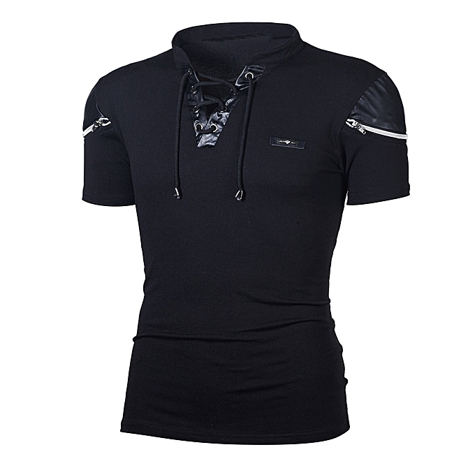 Fashion Jummoon Shop Fashion Personality Men's Casual Slim Patchwork Short Sleeve T Shirt Top Blouse à prix pas cher