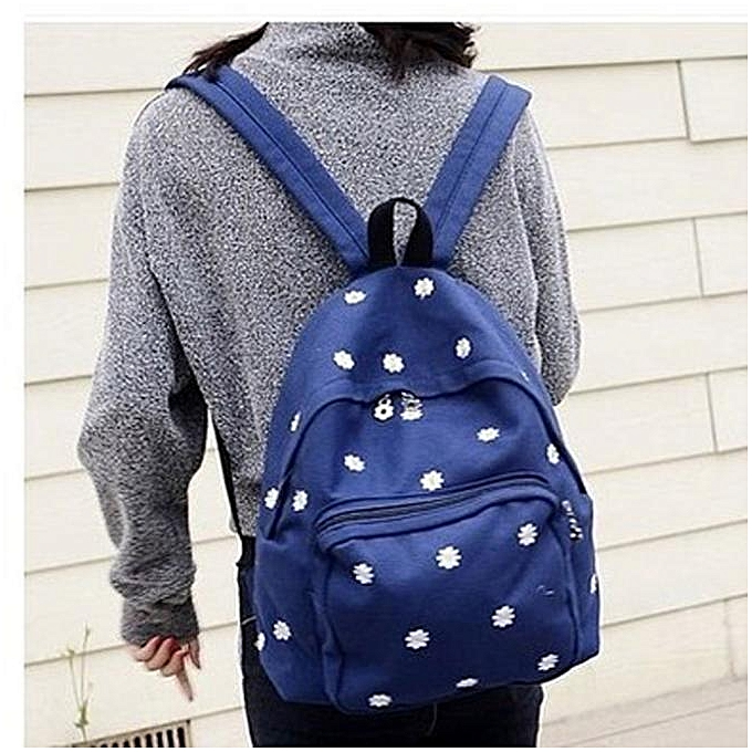 nouveauorldline femmes Solid Couleur Embroiderouge Daisies sac à dos Shoulder sac -Dark bleu à prix pas cher