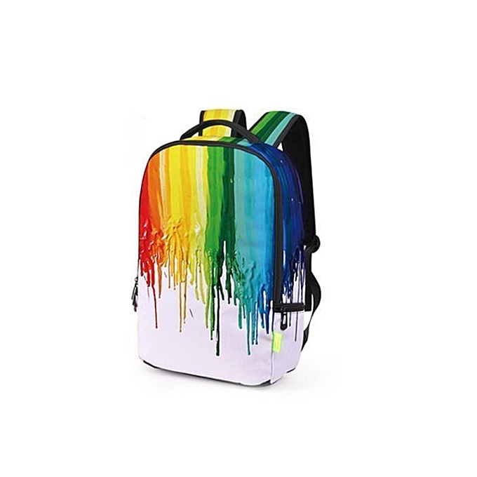 Fashion Creative MultiCouleur Ink Backpack 3D Printed Travel Backpack Student Bag à prix pas cher
